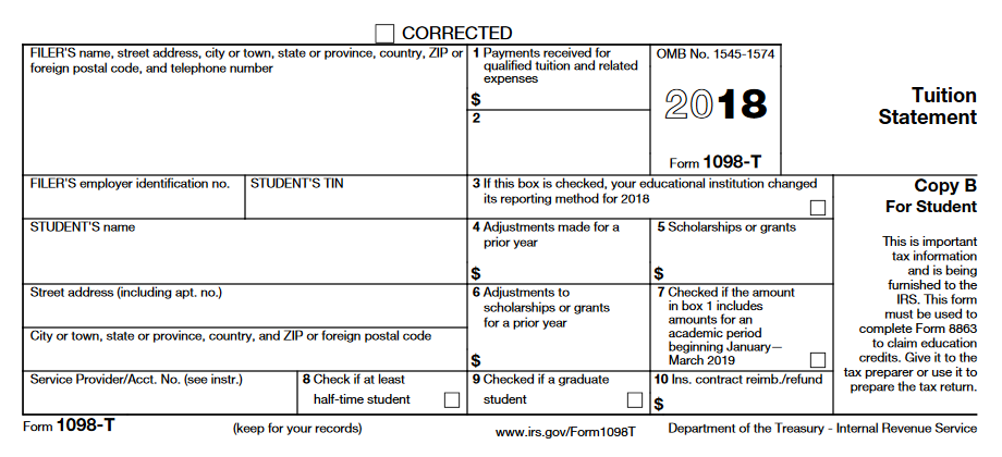 1098 T Tuition Statement Finance And Administration Oregon State