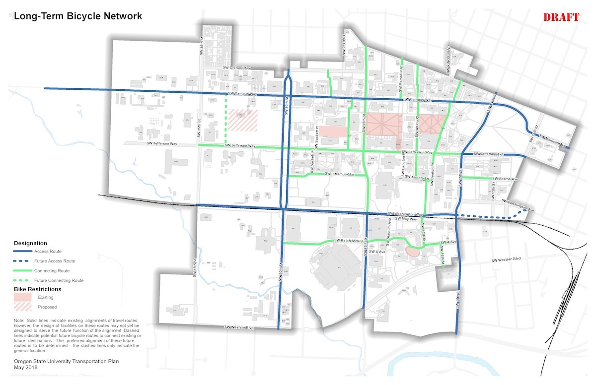 Draft bicycle system map for Corvallis campus