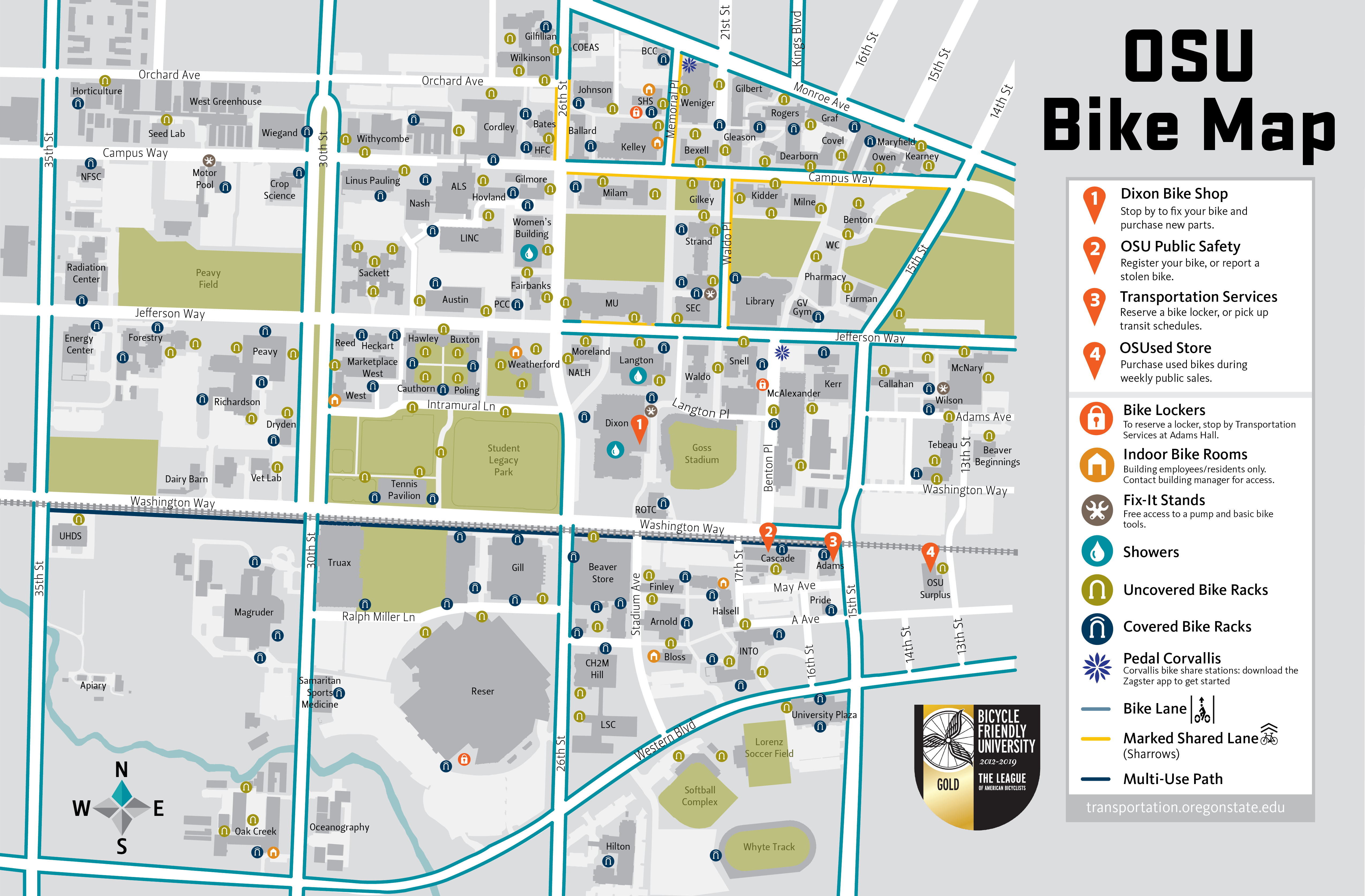 Campus Bike Map Finance And Administration Oregon