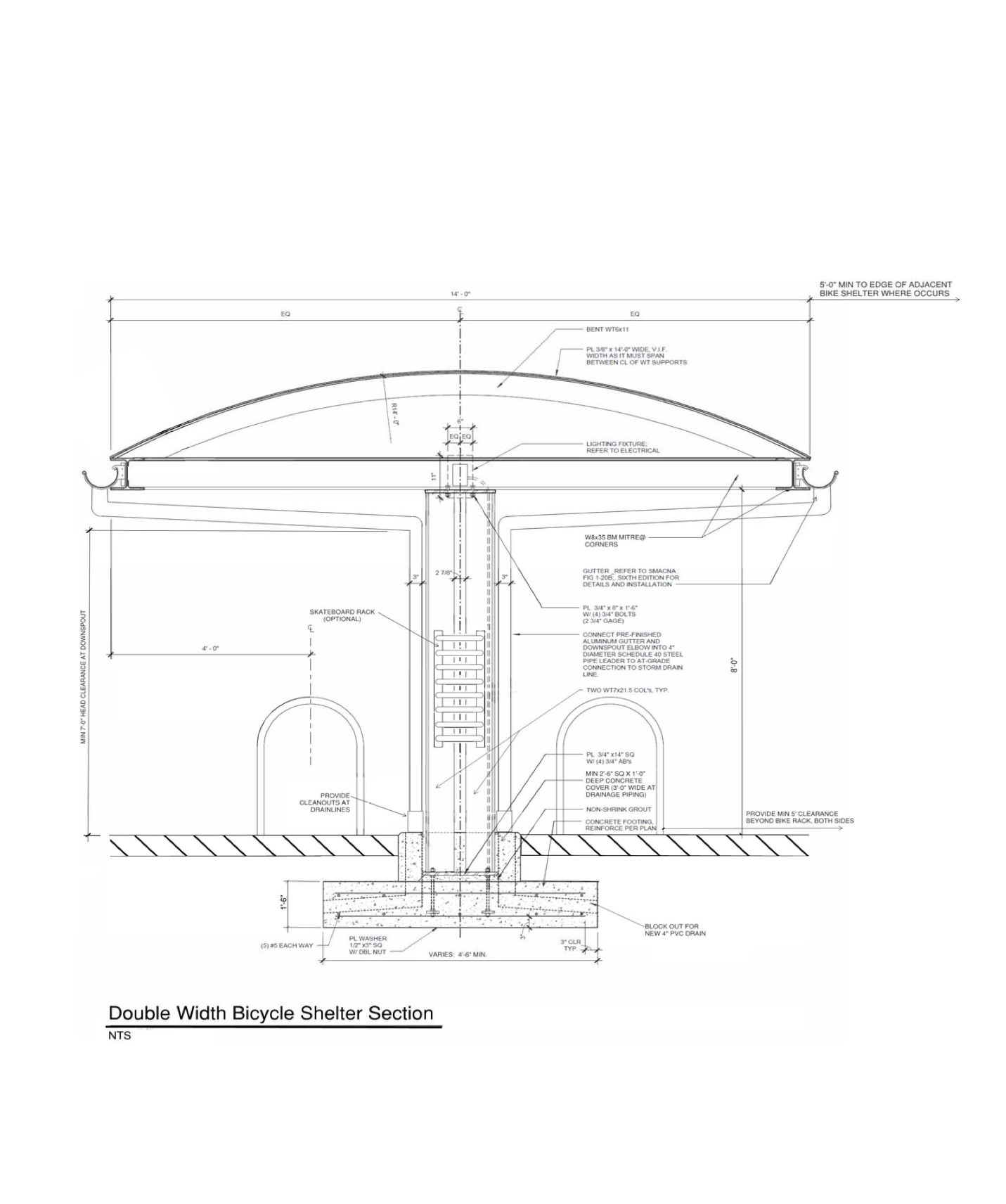 Diagram 32 33 00D Double Bike Shelter Section