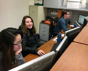 Students Shayna Kaneshiro (left), Lindsay Paugh (center), and Cade Windell (right) hard at work in the UABC Finance and Accounting department.