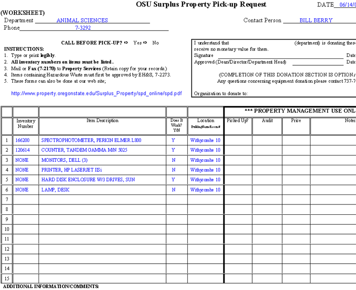 Image - OSU Surplus Property Pick-up Request with sample data (page 1)