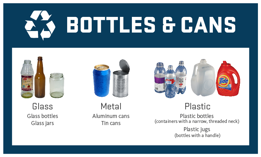 Graphic showing what is accepted in Bottles & Cans bins