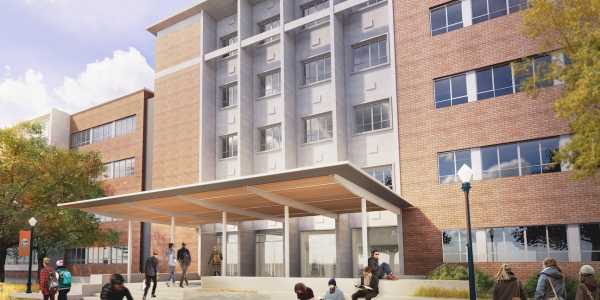 Rendering of future south entrance of Cordley Hall